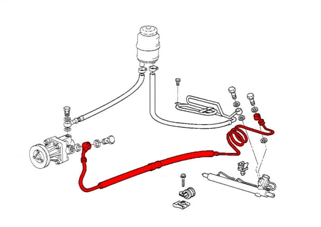 Power Steering Hose Power Steering Pump To Steering Rack