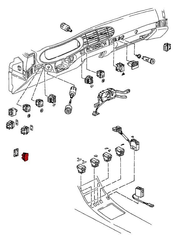 rear hatch release switch 9446131290101c - genuine porsche