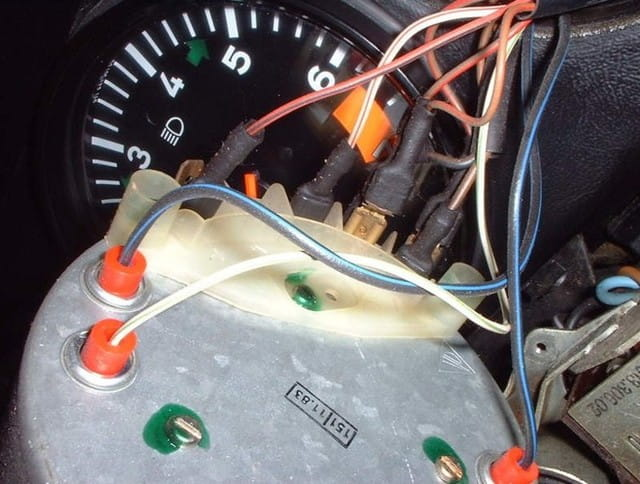 porsche 911 speedometer removal 911 1965 89 930 turbo 1975 911sc 1979 and i have it removed from the dash but can not seem to remove the wires the orange bases any thoughts on removing those wires