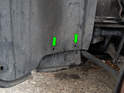 Left and right sides: You'll also need to remove the two dzus fasteners (green arrows) on the rear of the undertray inside the wheel wells or cut the cable ties.