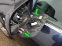 Now unplug the heating element electrical connections from the old side mirror glass (green arrows).