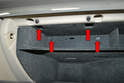 With the glove box open remove the four 8mm screws inside the glove box (red arrows).