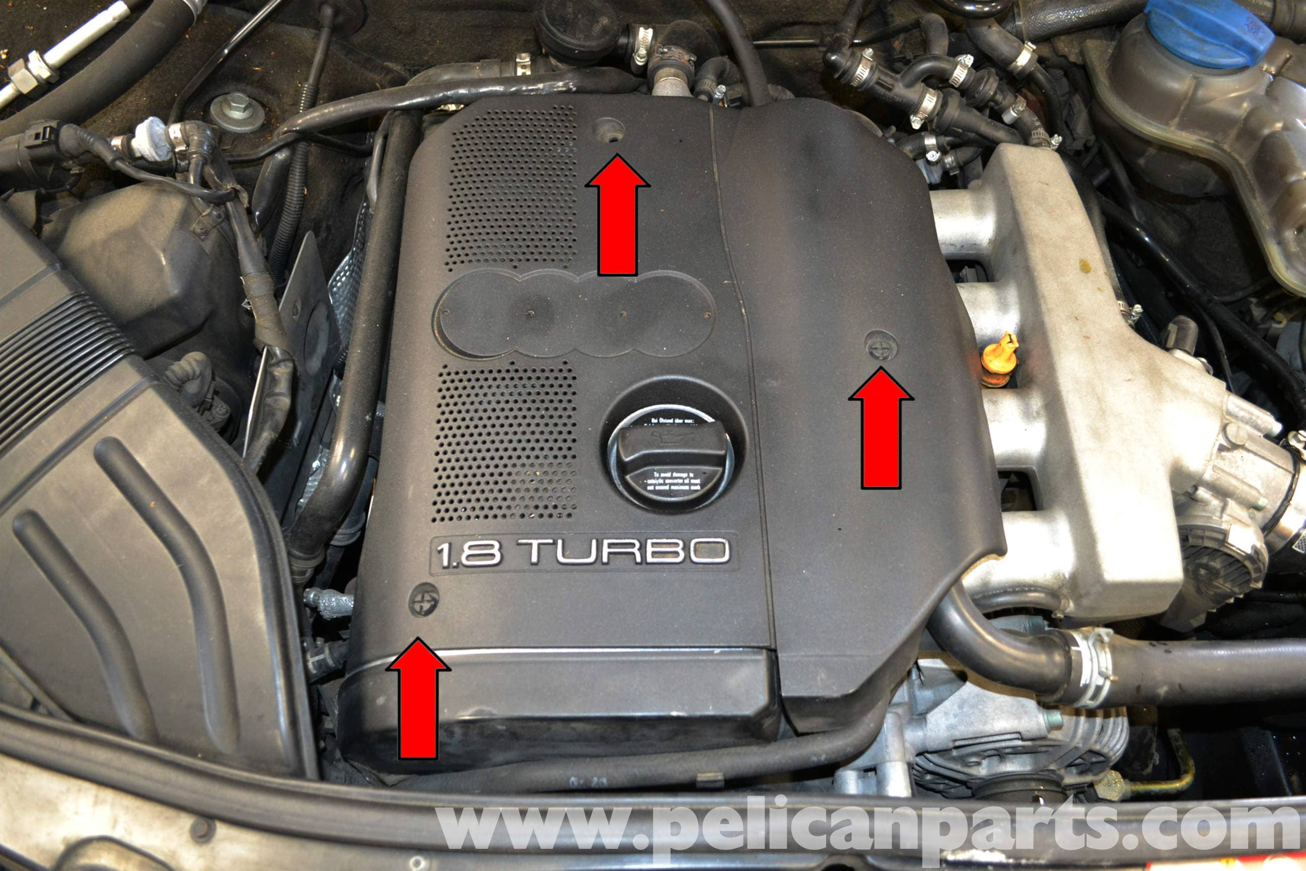 audi a4 b6 engine cover removal 1 8t 2002 2008 pelican. Black Bedroom Furniture Sets. Home Design Ideas
