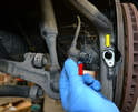 Front Sensor- Use a 5mm Allen and remove the single bolt holding the sensor in place.