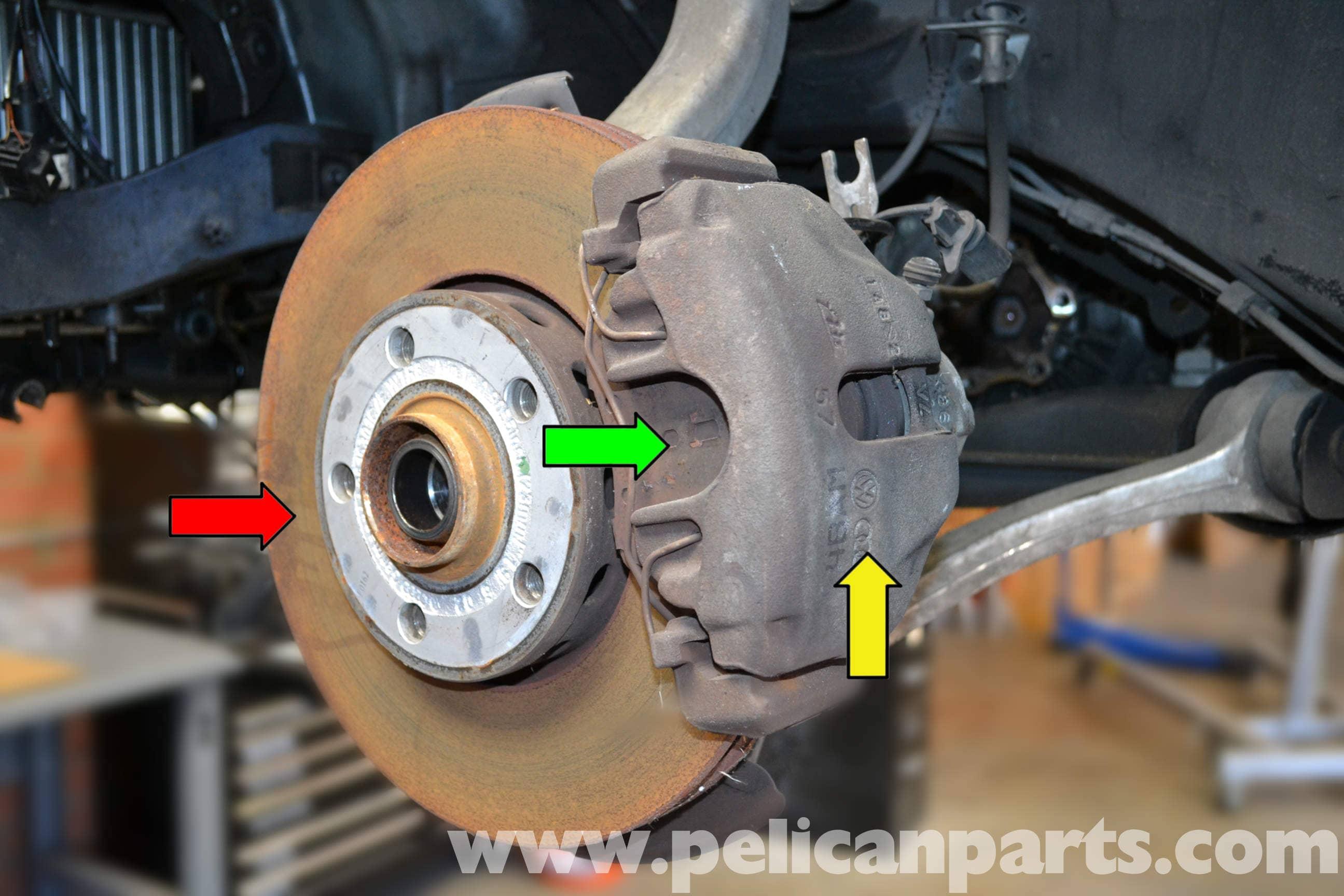 audi a4 b6 front brake caliper replacement 2002 2008 pelican parts diy maintenance article. Black Bedroom Furniture Sets. Home Design Ideas