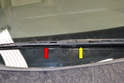 There are several different types of wiper blades (red arrow) and arms (yellow arrow) used on the Audi A4; make sure to verify the type of blade and arms you have on your vehicle before ordering.