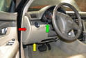 The driver lower storage compartment is a single large piece that stretches from the drivers' door, under the steering column to the center console.