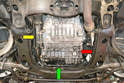 With the underbody trays off you can see the filter lines at the front of the transmission (green arrow), the filter (yellow arrow) and the drain and fill plugs (red arrow).