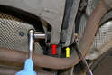 Tie Rod- The tie rod (yellow arrow) and trailing arm (red arrow) are connected to the chassis side by a single 18mm bolt.
