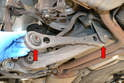 Tie Rod- The tie rod bushings can be pressed out and new bearings pressed in if you have the proper bearing puller tool while the tie rod is still in the vehicle, you only need to drop one side at a time to do it this way (red arrows).