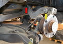 Track Control Arm- The track control arm is connected to the wheel bearing housing (yellow arrow) and the chassis (red arrow).
