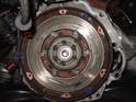Here's a good look at the face of the flywheel after the removal of the clutch.