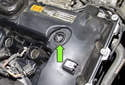 6-cylinder engine: This photo shows eccentric shaft seal installed properly (green arrow).