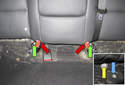 Rear Seat: Next you have to remove two fasteners at the center of the rear seat back cushion (green arrows).