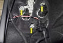Fender taillight: Next, remove the four 8mm mounting fasteners (yellow arrows).