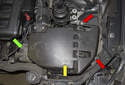To remove the alternator and access the electrical connections at the rear of the alternator, remove the air filter housing assembly (yellow arrow).