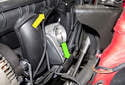 Next, remove the two electrical connectors at the top of the intake manifold (yellow arrow).