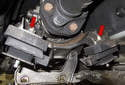 With the support bracket out of the way, you can remove the transmission mounts.