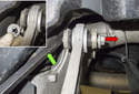 Remove the nut, then the keyed washer (inset).