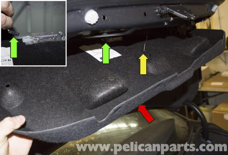 bmw e60 5 series trunk lock cylinder and latch replacement 2003 then pull the carpet trim red arrow down and feed the emergency release cable