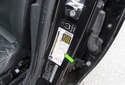 3 Tire pressure information for your vehicle is located in the driver doorjamb on the label (green arrow) shown in this photo.