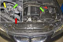 Testing the heater control valve: The inlet for the heater control valve (green arrows) is in the front (red arrow).