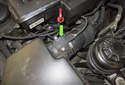 6-cylinder: The mass air flow sensor is located in the air filter housing outlet (green arrow).