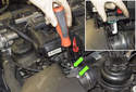 6-cylinder: Remove the two T20 Torx fasteners from the mass air flow sensor (green arrows).