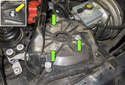 Then remove the three 13mm strut mounting nuts (green arrows).