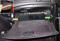 With the glove box open, remove the support strap (green arrow) and support strut (yellow arrow).