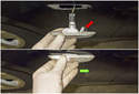 Side Marker Bulb: Grab the side marker lens and push it toward the rear (green arrow) of the vehicle while pulling the rear of the lens out of the fender.