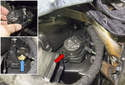 Left Dashboard Vent: To replace the stepper motor, press the release tab (red arrow) and remove it at an angle until it is detached.