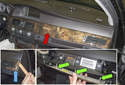 Next, remove the center dashboard trim (red arrow).