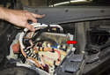 Engine control module (ECM): The engine control module (ECM or DME) (red arrow) is mounted in the electronics-box (E-box) at the right rear of the engine compartment.
