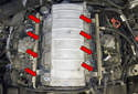 Fuel supply, fuel injection: An electrically operated fuel pump, located inside the fuel tank, supplies high-pressure fuel to the engine fuel rail.