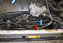 BMW E60 models utilize one multi-rib engine drive belt (blue arrow).