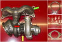 This photo shows the majority of parts needed to replace a single turbocharger.