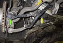 The inner tie rod is hidden behind a dust boot (yellow arrow).