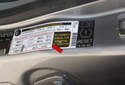 Tire pressure information for your vehicle is located in the driver doorjamb on the label (red arrow) shown in this photo.