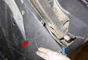 Rear sensor: Remove the plastic splash shield (red arrow) to reveal the connector housing (blue arrow).