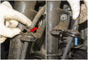 Working at the strut, remove the clip from the brake hose (red arrow), unclip and lift it up.