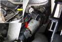 Exhaust camshaft sensor: Using a 5mm Allen bit (yellow arrow), remove the camshaft sensor fastener (red arrow).