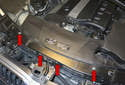 Start by removing the four T25 Torx fasteners (red arrows) for the fresh air intake duct.