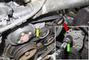 Locate the accessory (main) drive belt tensioner, then locate the 16mm HEX boss (yellow arrow).