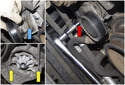 A/C belt tensioner: Once removed (red arrow), remove tensioner with bolt from engine (blue arrow).