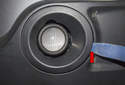 Fog Light: Using a plastic trim panel tool, lever out the plastic trim (red arrow).