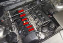 BMW X3 models with a M54 6-cylinder engine utilize one fuel injector per cylinder (red arrows).