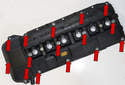 This photo shows the fifteen 10mm valve cover fastener (red arrows) locations.