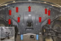 To remove engine splash shield: Working under vehicle, using a trim panel tool, remove the plastic rivets (blue arrows).