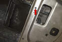 To remove reinforcement plate: Start by removing the 8mm fastener (red arrow).